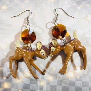 OOAK Vintage Bambi toy and crystal earrings